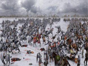 Мы видим схему сражения. Немецкие рыцари для атаки выстроились в форме тупого