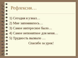 Рефлексия… 1) Сегодня я узнал… 2) Мне запомнилось… 3) Самое интересное было…