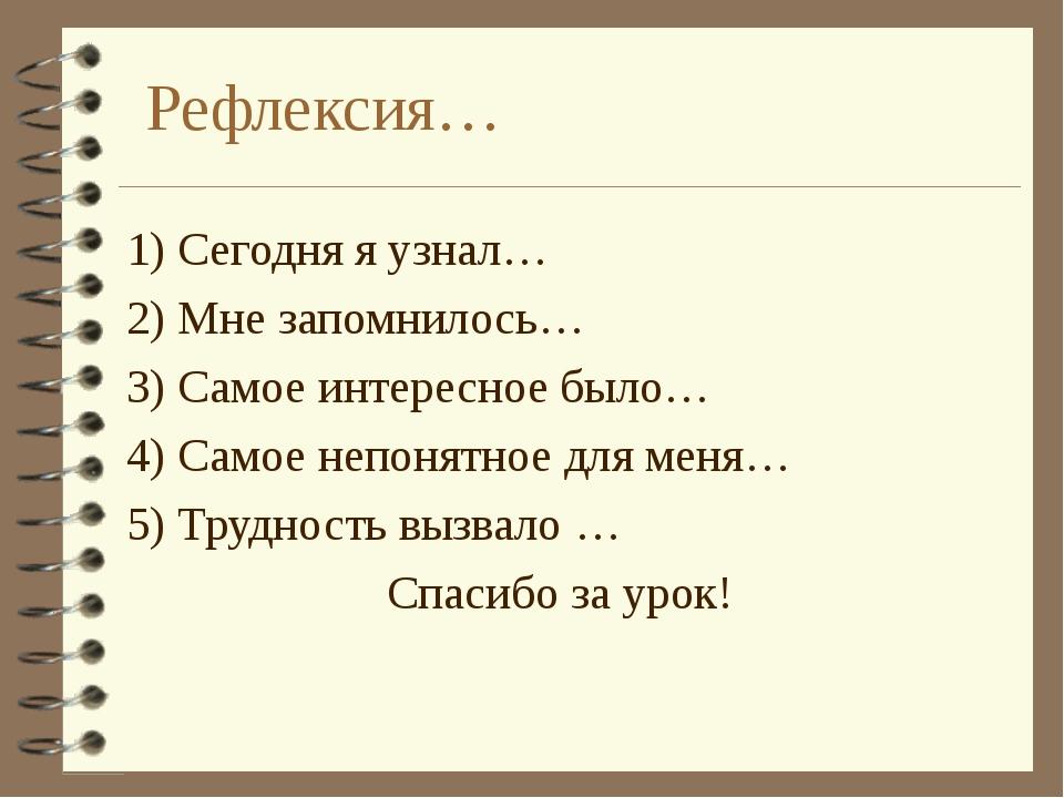 Рефлексия… 1) Сегодня я узнал… 2) Мне запомнилось… 3) Самое интересное было…...