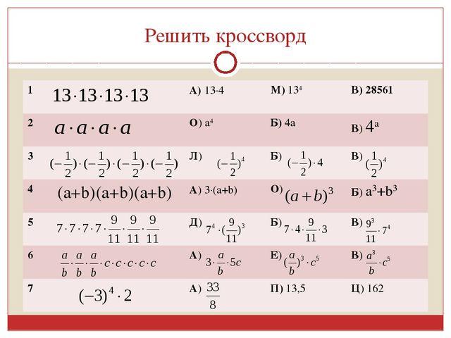 Решить кроссворд 1А) 134М) 134В) 28561 2О) а4Б) 4аВ) 4а 3Л) Б) В...