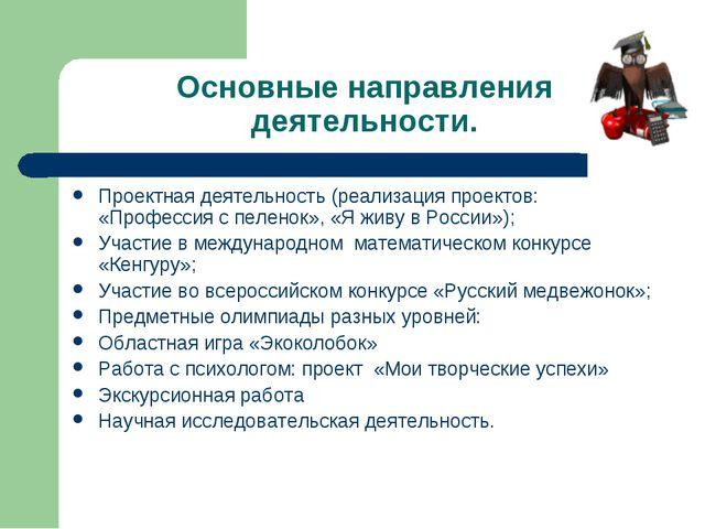 Основные направления деятельности. Проектная деятельность (реализация проекто...