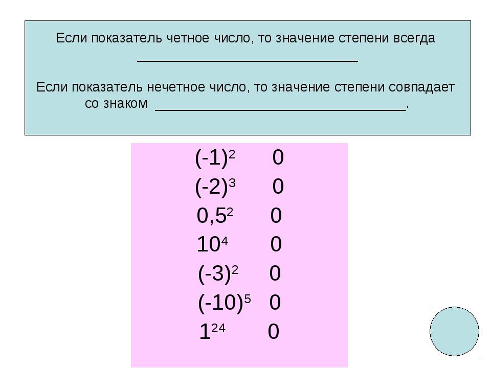 (-1)2 0 (-2)3 0 0,52 0 104 0 (-3)2 0 (-10)5 0 124 0 Если показатель четное чи...