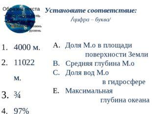 Установите соответствие: /цифра – буква/ 4000 м. 11022 м. ¾ 97% Доля М.о в пл