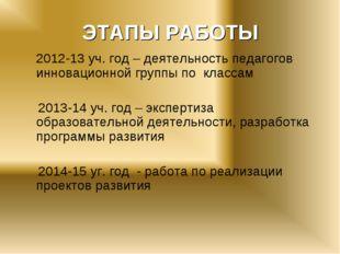 ЭТАПЫ РАБОТЫ 2012-13 уч. год – деятельность педагогов инновационной группы п