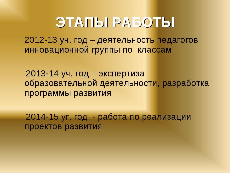 ЭТАПЫ РАБОТЫ 2012-13 уч. год – деятельность педагогов инновационной группы п...