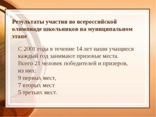 Результаты участия во всероссийской олимпиаде школьников на муниципальном эта