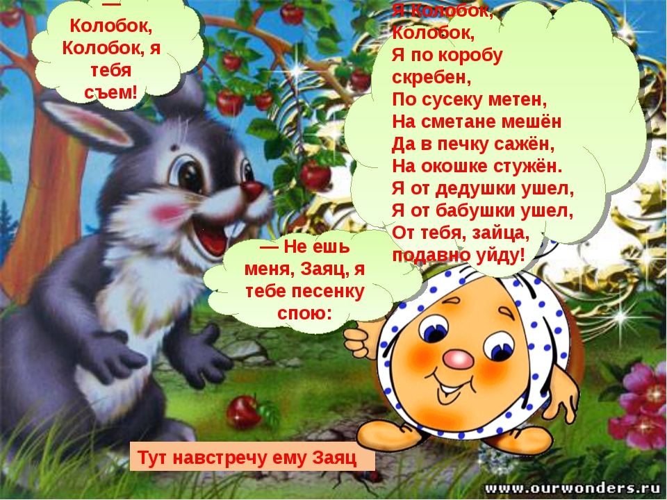 Тут навстречу ему Заяц — Колобок, Колобок, я тебя съем! — Не ешь меня, Заяц,...