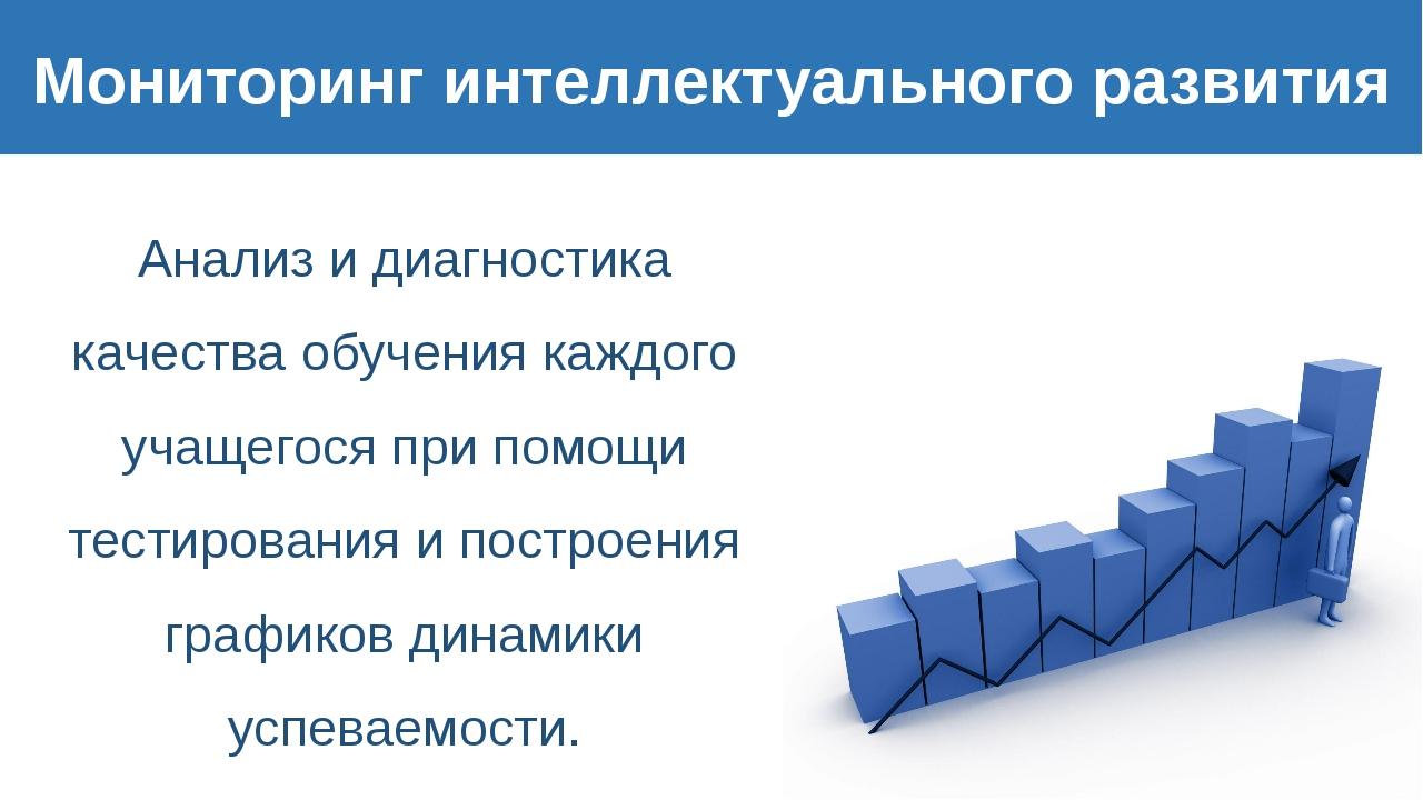 Мониторинг интеллектуального развития Анализ и диагностика качества обучения...