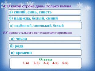 4. В какой строке даны только имена прилагательные? а) синий, синь, синеть б