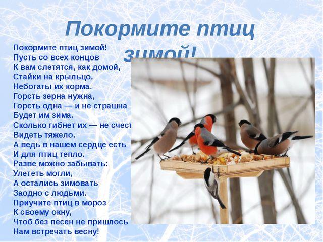 Покормите птиц зимой! Покормите птиц зимой! Пусть со всех концов К вам слетя...