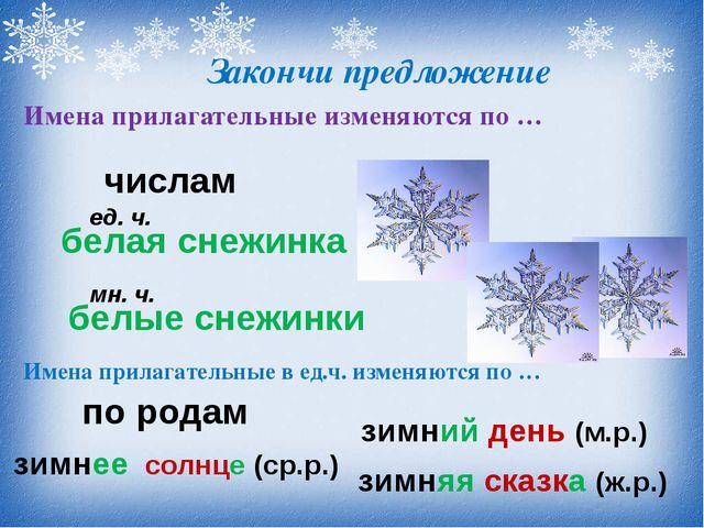 Закончи предложение Имена прилагательные изменяются по … числам белая снежин...