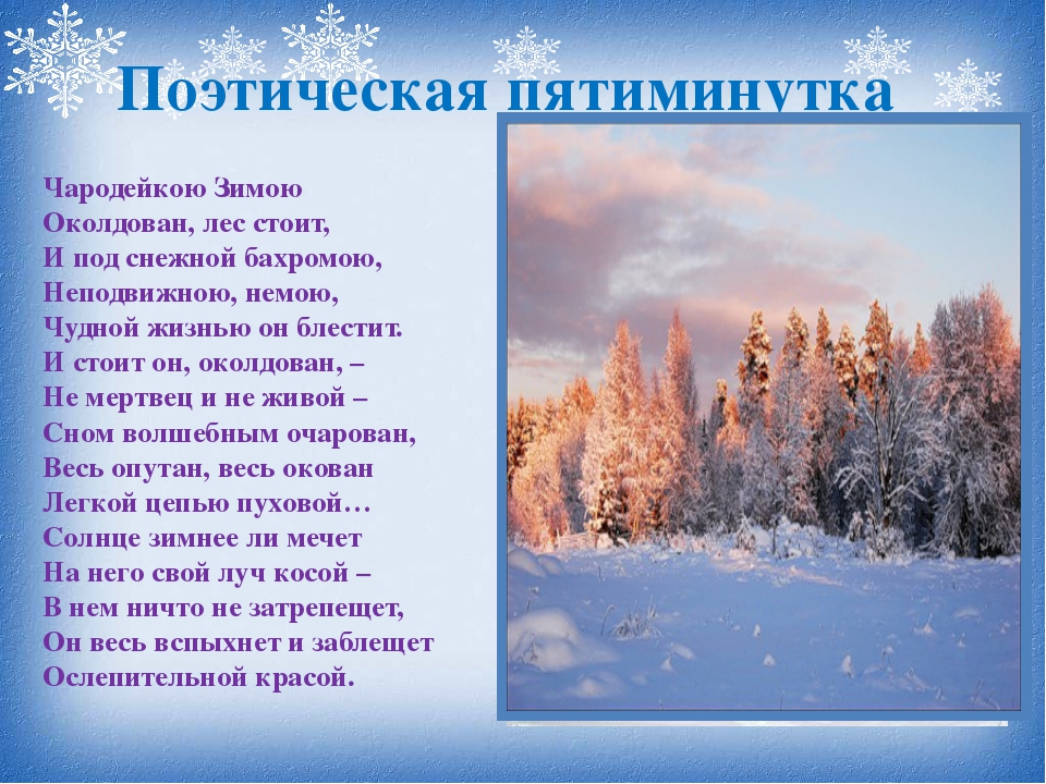 Чародейкою Зимою Околдован, лес стоит, И под снежной бахромою, Неподвижною,...