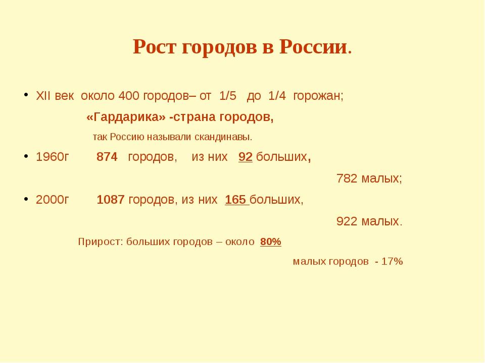 Рост городов в России. XII век около 400 городов– от 1/5 до 1/4 горожан; «Гар...