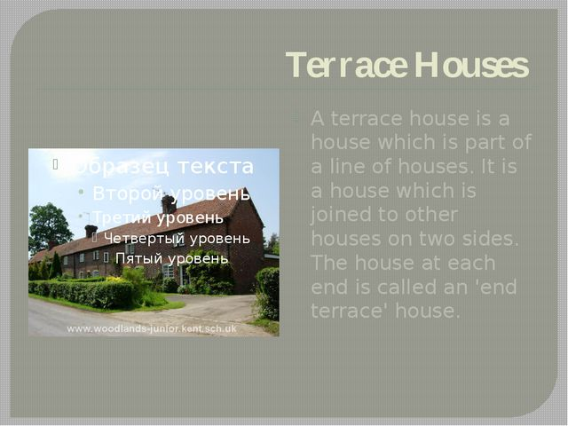 Terrace Houses A terrace house is a house which is part of a line of houses....