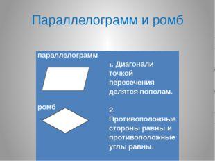 Параллелограмм и ромб параллелограмм        ромб         1. Ди