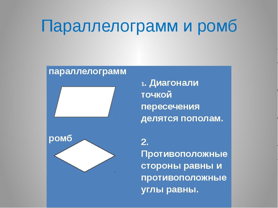 Параллелограмм и ромб параллелограмм        ромб         1. Ди...