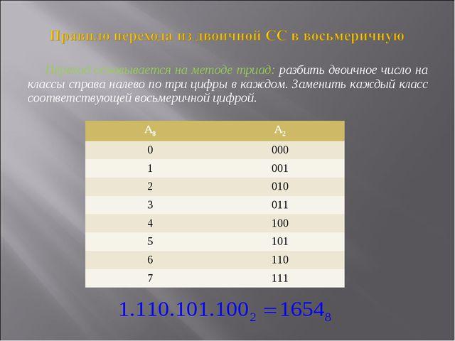 Переход основывается на методе триад: разбить двоичное число на классы справа...