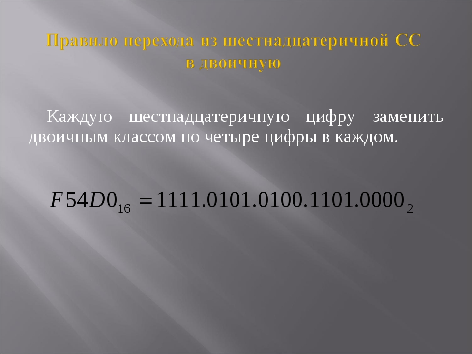 Каждую шестнадцатеричную цифру заменить двоичным классом по четыре цифры в ка...