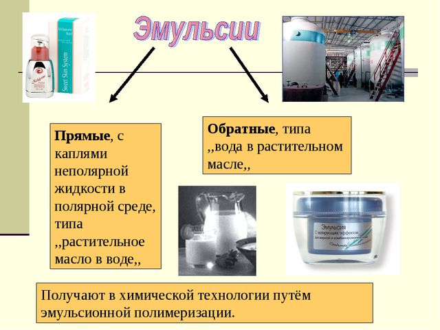 Прямые, с каплями неполярной жидкости в полярной среде, типа ,,растительное м...