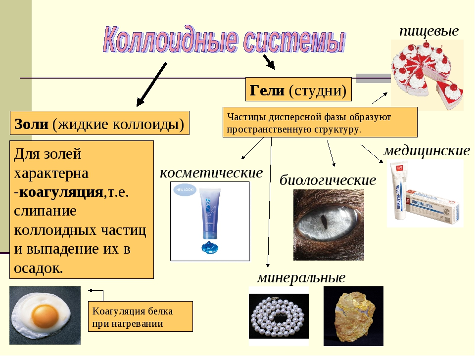 Золи (жидкие коллоиды) Гели (студни) пищевые медицинские биологические минера...