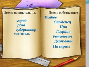 Тамбов Студенец Цна Гавриил Романович Державин Имена собственные Имена нарица