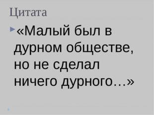 Цитата «Малый был в дурном обществе, но не сделал ничего дурного…»