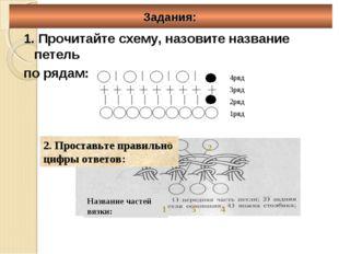 Задания: 1. Прочитайте схему, назовите название петель по рядам: 1 2 3 4 5