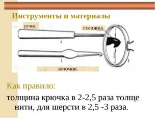 Инструменты и материалы Как правило: толщина крючка в 2-2,5 раза толще нити,