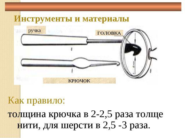 Инструменты и материалы Как правило: толщина крючка в 2-2,5 раза толще нити,...