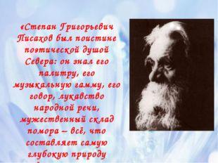«Степан Григорьевич Писахов был поистине поэтической душой Севера: он знал ег