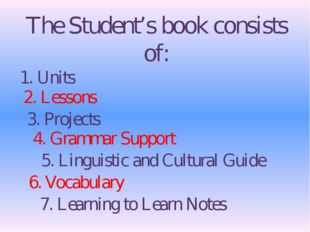 The Student's book consists of: 1. Units 2. Lessons 3. Projects 4. Grammar Su