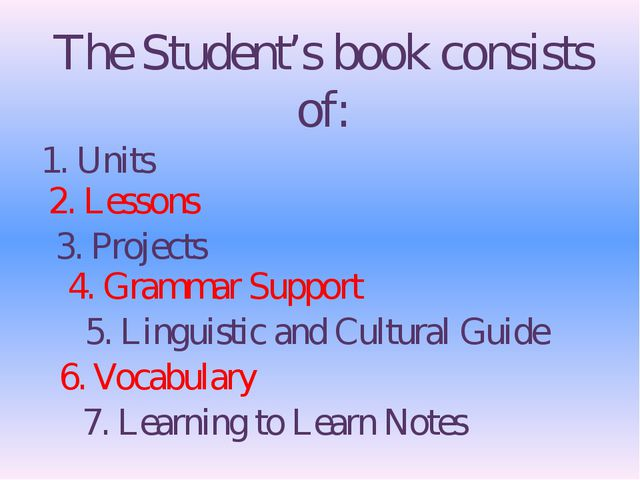 The Student's book consists of: 1. Units 2. Lessons 3. Projects 4. Grammar Su...