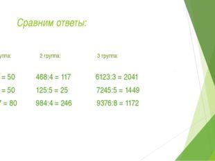 Сравним ответы: 1 группа: 2 группа: 3 группа: 250:5 = 50 468:4 = 117 6123:3