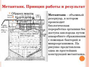 Метантанк. Принцип работы и результат Метантанк – объемный резервуар, в котор