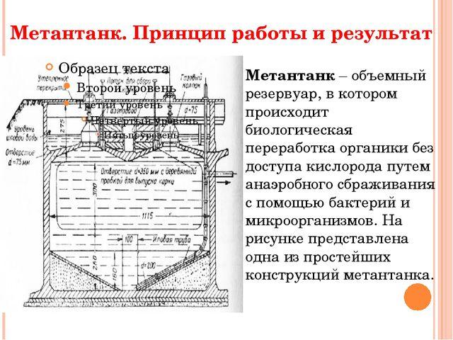 Метантанк. Принцип работы и результат Метантанк – объемный резервуар, в котор...