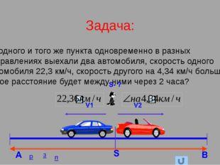 Задача: Из одного и того же пункта одновременно в разных направлениях выехали