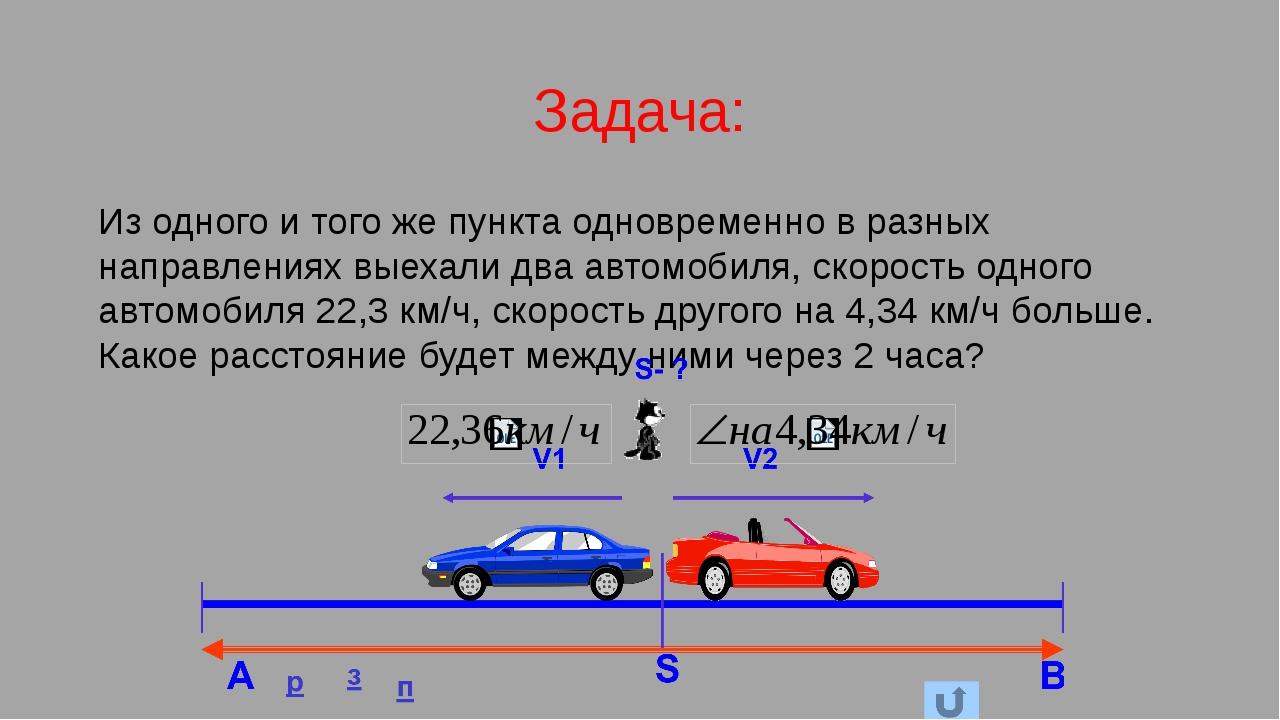 Задача: Из одного и того же пункта одновременно в разных направлениях выехали...