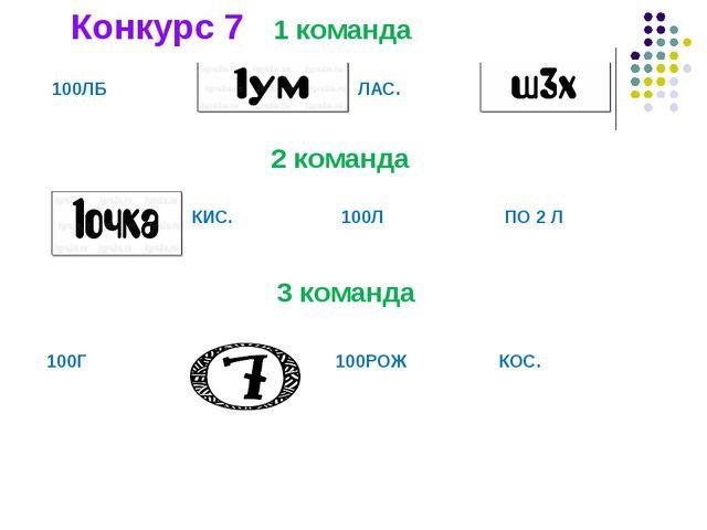 1 команда 2 команда Конкурс 7 3 команда 100ЛБ ЛАС.  КИС. 100Л ПО 2 Л...
