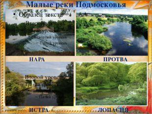 Малые реки Подмосковья НАРА ИСТРА ПРОТВА ЛОПАСНЯ