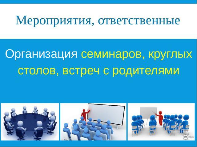 Мероприятия, ответственные Организация семинаров, круглых столов, встреч с ро...
