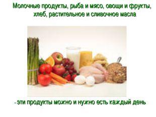 Молочные продукты, рыба и мясо, овощи и фрукты, хлеб, растительное и сливочно