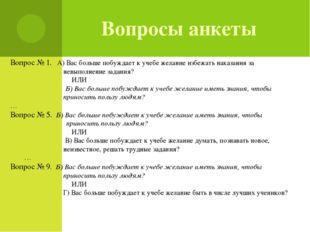 Вопросы анкеты Вопрос № 1. А) Вас больше побуждает к учебе желание избежать н