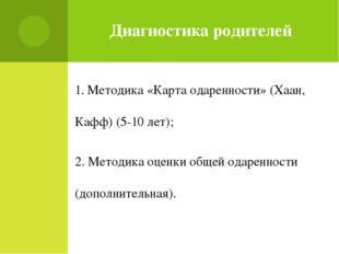 Диагностика родителей 1. Методика «Карта одаренности» (Хаан, Кафф) (5-10 лет)