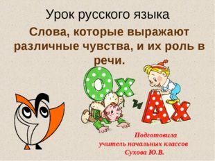 Слова, которые выражают различные чувства, и их роль в речи. Урок русского яз