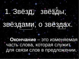 .1. Звёзд, звёзды, звёздами, о звёздах. Окончание – это изменяемая часть сл