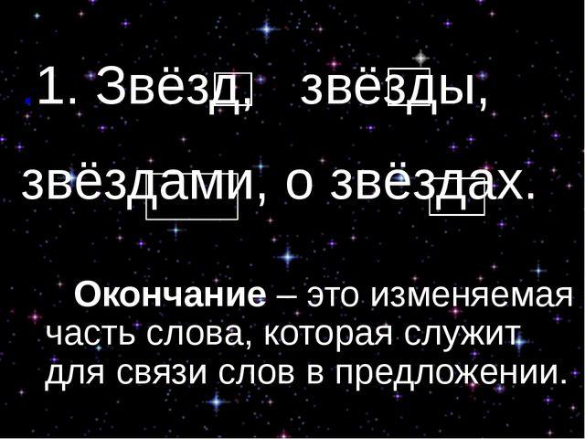 .1. Звёзд, звёзды, звёздами, о звёздах. Окончание – это изменяемая часть сл...