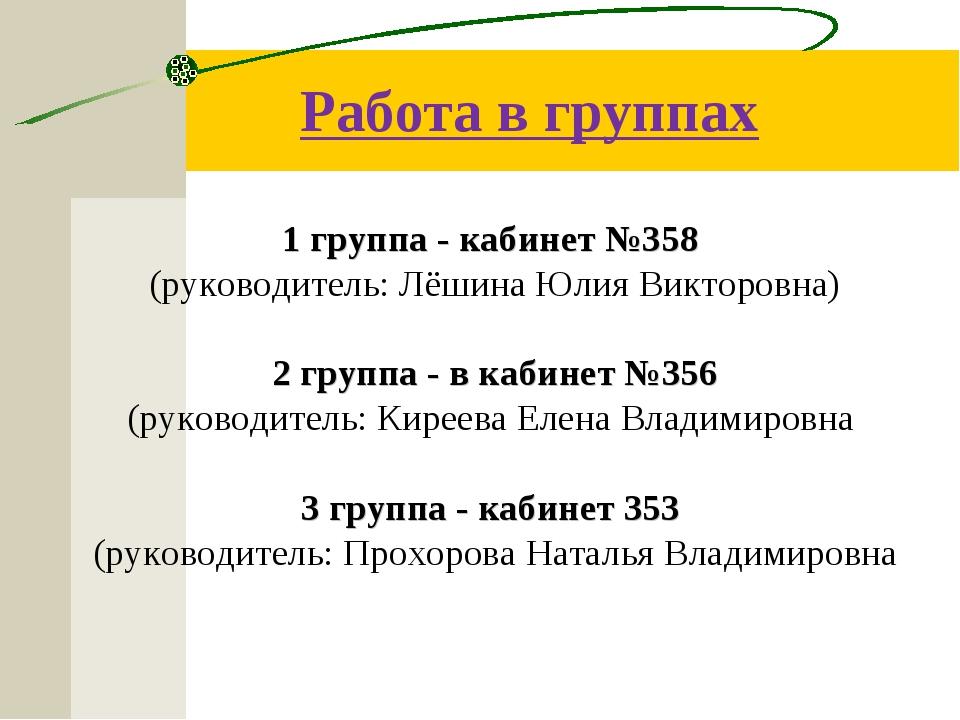 Работа в группах 1 группа - кабинет №358 (руководитель: Лёшина Юлия Викторовн...