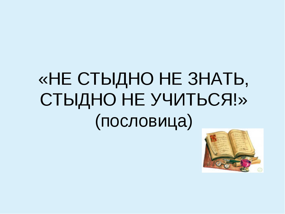 «НЕ СТЫДНО НЕ ЗНАТЬ, СТЫДНО НЕ УЧИТЬСЯ!» (пословица)