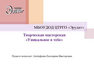 Творческая мастерская «Уникальное в тебе» МБОУДОД ЦТРГО «Эрудит» Педагог-псих