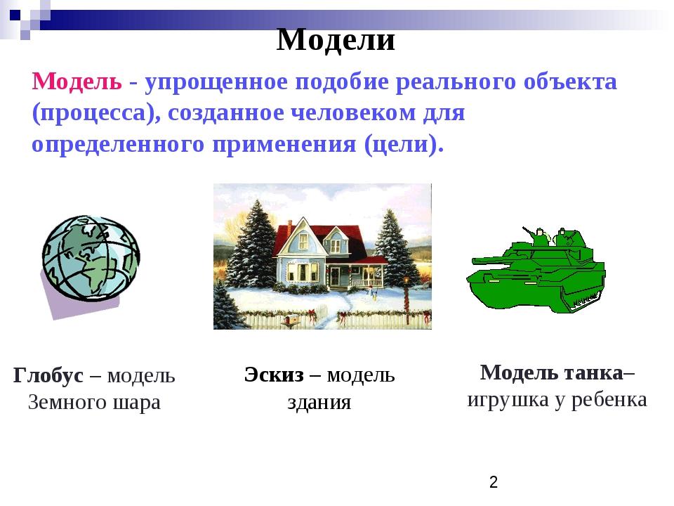 Модели Модель - упрощенное подобие реального объекта (процесса), созданное че...